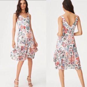 Club Monaco Janou Silk Dress Floral Ruffle Hem 0
